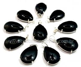 05 Pingente Gota Obsidiana Negra Prata 950 Garra REFF GP5703