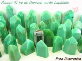 01 kg Pontas Quartzo Verde Media 200 a 350gr Lapidado ATACADO
