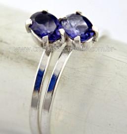 Anel 2 Pedras Safira Gemas Corindon Azul Facetado Prata 950 Aro Ajustavel Reff 14.3