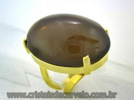 Anel Quartzo Fume Cabochão Oval Pedra Natural Montagem Banho Flash Dourado Aro Ajustavel