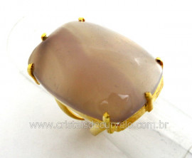 Anel Agata Natural Retangulo Grande Pedra natural de Garimpo Banho Flash Dourado Aro Ajustavel
