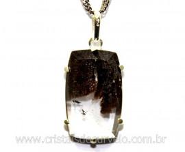 Pingente Facetado Cristal com Lodolita Prata 950 Cod PL9441
