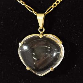 Pingente Extra Coração Pedra Quartzo Cristal Montagem Garra Dourado