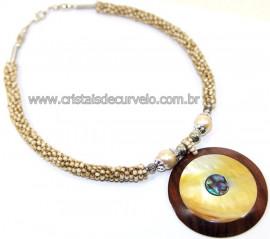Maxi Colar Pingente Mandala de Abalone e Madrepérola Cod 110757