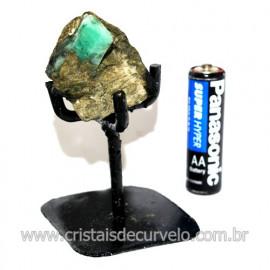 Esmeralda Canudo Pedra Natural com Suporte De Ferro Cod 119342