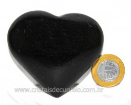 Coração Quartzo Preto Quartzito Negro Pedra Natural Cod CP2120