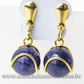 Brinco Bolinha Cesta Lapis Lazuli Pino Banho Dourado 112810