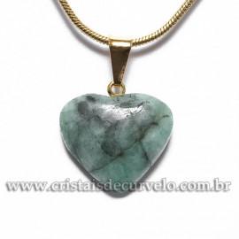 Pingente Mini Coração Pedra Esmeralda Natural Pino Dourado