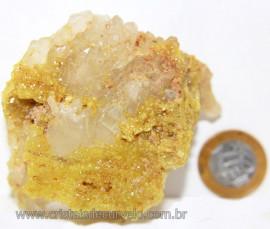 Mica Drusa Amarela Feldspato Pedra Bruta Natural Cod 111141