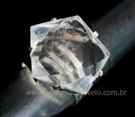Anel Wicca Pentagrama Pedra Cristal Aro Ajustavel Prata 950