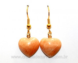 Brinco Coração Pedra Amazonita Rosa Montagem Anzol Reff BC9412
