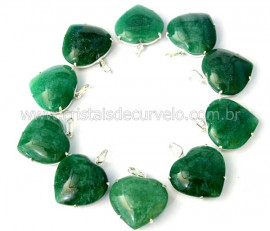 5 Pingente Coração Quartzo Verde Prata 950 Garra REFF CP9346
