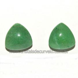Brinco Topinho Trillion Quartzo Verde Prata 950 Reff 109901