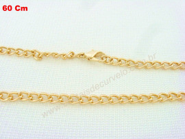 Cordão ou Correntinha para Pingente Fecho e Corrente Banho Flasch Dourado 60cm
