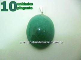 10 Pingente Cabochão QUARTZO VERDE Pedra Natural Castoação Pino Banhado Prata