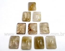 10 Retangulo Cabochao pra Pingente Pedra Cristal com Rutilo Calibrado 15 x 20 MM