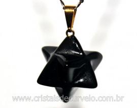 Merkaba Pingente Pedra Obsidiana Preta Lapidação Manual com Presilha Dourado