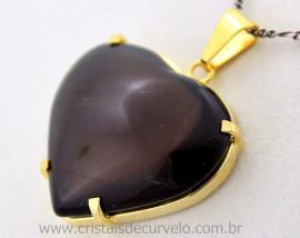 Pingente Extra Coração Pedra Quartzo Fume Montagem Garra Dourado