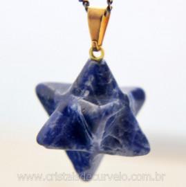 Merkaba Pingente Pedra Sodalita Azul Presilha Dourada