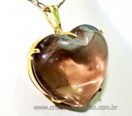Pingente Gigante Coração Quartzo Fumê na Garra Dourado Reff PG5929