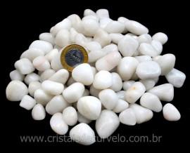 Pedra Rolado QUARTZO LEITOSO Tamanho Medio Pacote 1kg Branco Intenso
