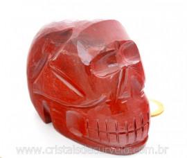 Crânio Pedra Dolomita Vermelha Esculpido Manualmente skull Stone Cod CV798.2