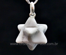 Pingente Merkaba Pedra Howlita Branca Pino Prata Reff MP1118