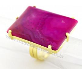 Anel Agata Rosa Retangulo Grande Pedra natural de Garimpo Banho Flash Dourado Aro Ajustavel