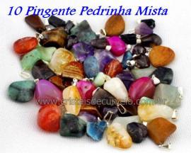 10 Pingente Pedra MISTO Pedrinha Rolado Pino Argola Flash Prateado ATACADO