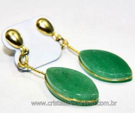 Brinco Navete Quartzo Verde Tarracha Banho Dourado Reff BN7989