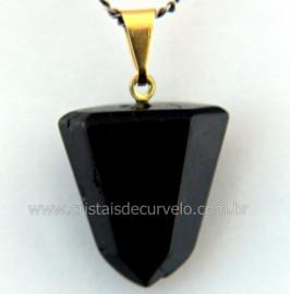 Pingente Pontinha Pedra Turmalina Preta Presilha e Pino Dourado