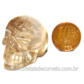 Cranio Citrino Natural Caveira Esculpido Skull Stone 119534