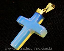 Crucifixo Pedra da Lua Opalina Pingente Cruz Montagem Envolto Banho Flash Dourado    PC1235