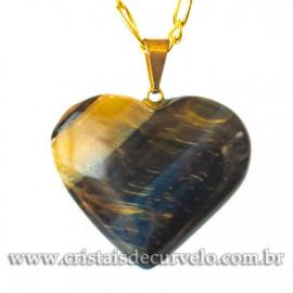 Pingente CORAÇÃO OLHO DE FALCAO Pedra Natural Castroação Banhado Dourado