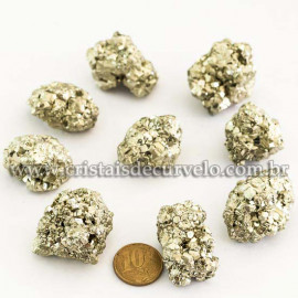03 Pirita Peruana Pedra Bruto 40 mm aprox 60 a 70 GR Cada