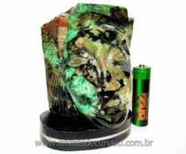 Busto de Artesanato Rosto Esculpido Pedra Esmeralda Cod RE3042