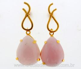 Brinco Gota Montagem na Garra Pedra Quartzo Rosa Pino Tarracha Banho Ouro Flash