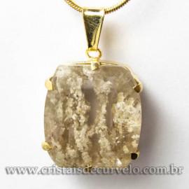 Pingente Pedra Cristal Lodolita Baguette Garra Dourada 112946