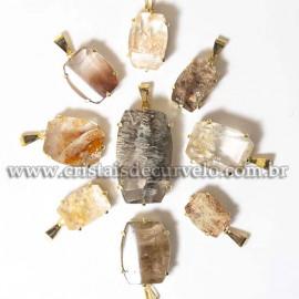 03 Pingente Especial Inclusão Pedra Natural Garra Dourada ATACADO