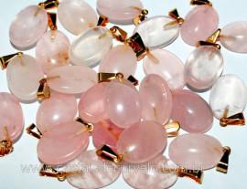 10 Pingente Cabochão QUARTZO ROSA Pedra Natural Pequena Castoação Pino Banho Dourado