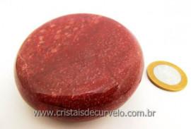 Massageador Disco Cristal Quartzo Vermelho Massagem Terapeutica Com Pedras Cod 220.5
