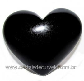 Coraçao de Obsidiana Negra Mineral Lava Vulcanica Cod 116326