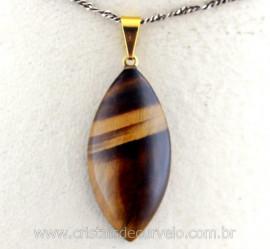 Pingente Navete Folha Olho de Tigre Pedra Natural Montagem Presilha Banho Dourado