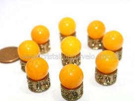 3 Bolinha Pedra Agata Amarela Natural 14mm Sem Furo REFF BS7795