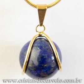 Pingente Bolinha Lapis Lazuli Envolto Pedra Montagem Dourada