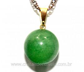 Pingente Bolinha Pedra Quartzo Verde Pino Dourada Ref PB4279
