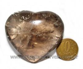 Coraçao Pedra Quartzo Fume com Esfumaçado Natural Cod 116090