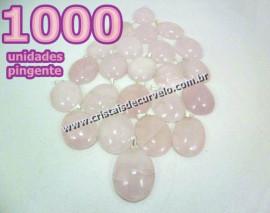 1000 Pingente Cabochão QUARTZO ROSA Pedra Natural Pino Banho Prata