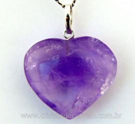 Pingente Coração Pedra Ametista natural Castoação Prata 950 Pino e Perinha