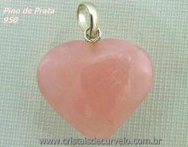 Pingente Coração Pedra Quartzo Rosa Prata 950 Pino e Perinha
